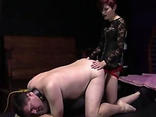 Older Guy Gets Bent Over And Pegged With A Big Dildo