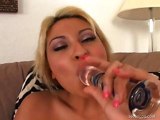 Sweet Blonde Cums All Over Her Dildo
