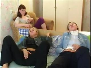 Three Teen Friends Getting Aroused Watching A Movie, Masturbate & Have Sex