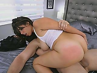 Brunette Big Ass Milf Spanked Hard By Big Cock Neighbor