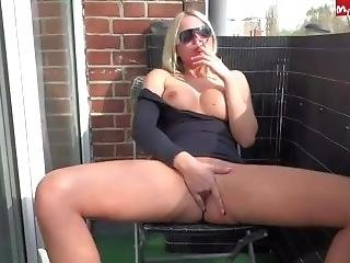 Sexy German Blonde Smoking Masturbating