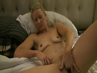Cute Blonde American Housewife Fingering Shaved Pussy