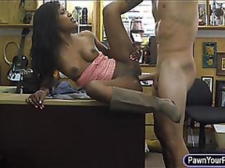 Ebony Chick Gets Fucked By Pawn Guy For The Golf Clubs