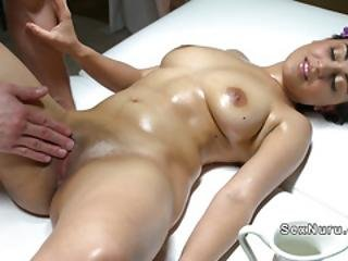 Masseur Gives Breasts Massage To Babe