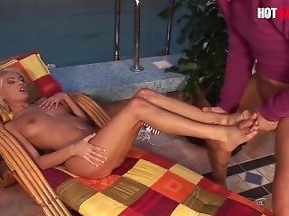 Hot Babes Plus - Small Tits Romanian Babe Poolside Rough Sex And Feet Love