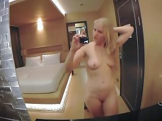 After Shower Blonde Russian Teen Dirty Talk & Masturbate In Hotel *part 1*