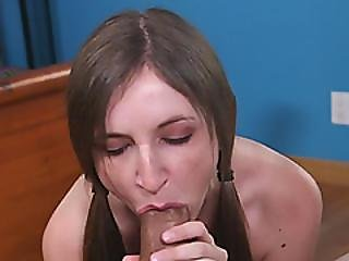 Big Schlong For Nerdy Brunette Teen Warm Mouth