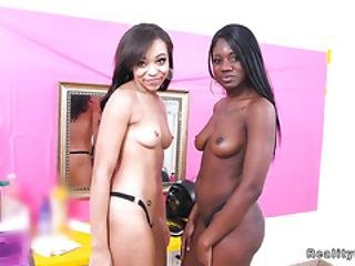 Lucky Dude Bangs Two Ebony Hotties