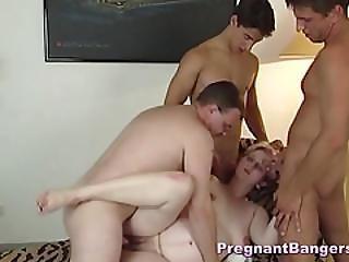 Expecting Slut Handling Three Cocks