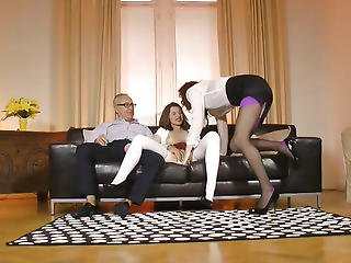 Pussylicking Brit Aged Doggystyling In Threesome