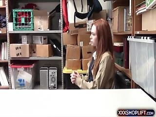 Cute Looking Redhead Gets Punish Fucked By The Security