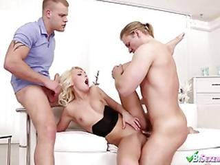 Mmf Threesome With Two Bi Guys And A Blonde
