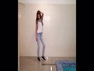Teen Wet Jeans In Pool