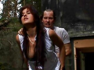 Hot babe anally slammed in forest