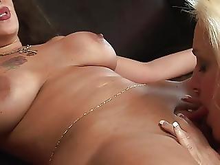 Angel, Blonde, Brunette, Lesbian, Milf, Pornstar, Sofa Sex