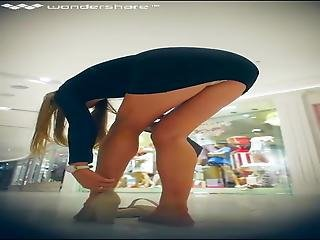 Upskirt Of Girl Bending Over To Take Her Shoes Off