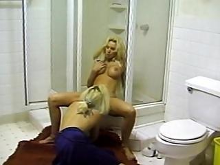 Two Blonde Lezbo Lovers In Hot Bathroom Sex