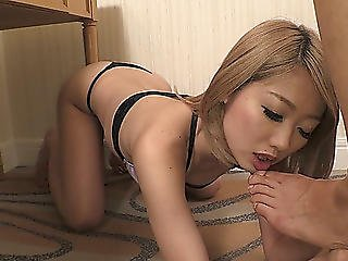 Sizzling Japanese Slut Licks Feet Dark Hole And Balls Of Lustful Client