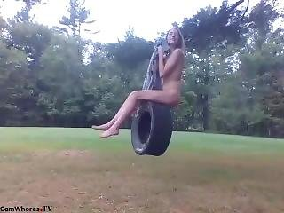 Jamiepage - Outdoor Naked On The Tire Swing Webcam