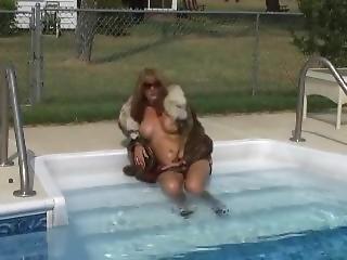 babe, fetish, pels, pool, offentlig, alene