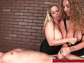Femdom Masseuses Slapping Their Clients Cock