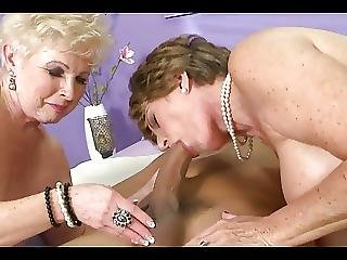 Two Mature Ladies Share Young Guy S Cock And Cum