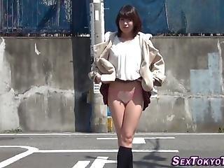Asian Teens Flashing Their Underwear On Public Street