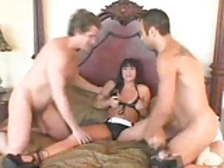 Dark Haired Babe Takes Two Cocks - Pandemonium