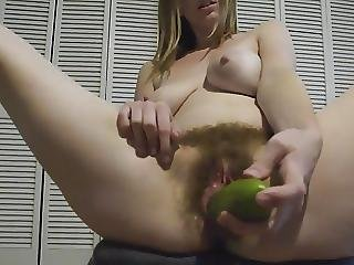 Hairy Girl Wanks And Enjoys A Cucumber