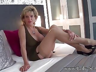 Busty Milf On Stockings Lady Sonia Fingering Her Pussy