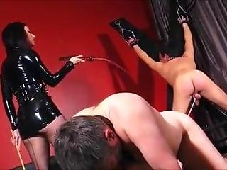 Mistress Whips Cane And Cbt To Slaves