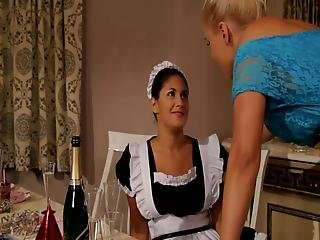 Nasty Blonde Lesbian Ties Up Her Maid And Fucks Her With A Sex Toy