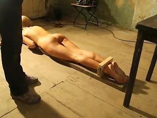 Test Of Torture Instruments On A Naked Slave