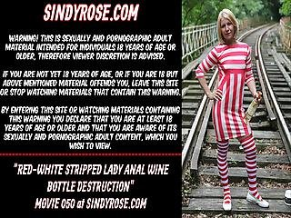 Red-white Stripped Lady Anal Wine Bottle Destruction
