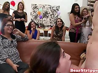 Bday Partygirls Munching On Stripper Cock