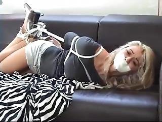 Busty Blonde Tape Gagged
