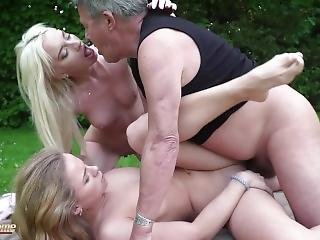 Grandpa Fucks 2 Teens In The Same Time The Young Girls Swallow His Jizz