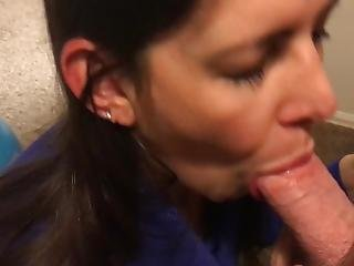 Sexy Milf Gives Me A Bedtime Blowjob And Takes A Cumload On Her Face Pov