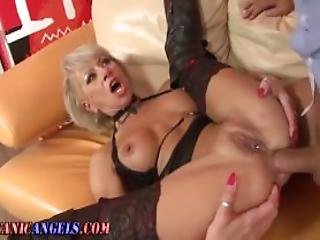 Mature stocking fucked after sucking dick