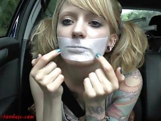 Girl Gags Herslef With White Tape