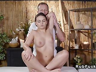 Dark Haired Babe Sucks And Fucks Masseurs Cock