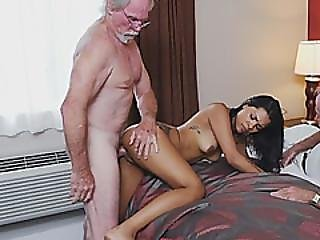 Creepy Old Guys Are Having Passionate Sex With Cute Brunette Teen