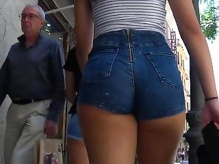Public butt in short shorts