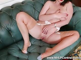 Big Natural Tits Brookie Little Peels Off White Retro Lingerie Masturbates