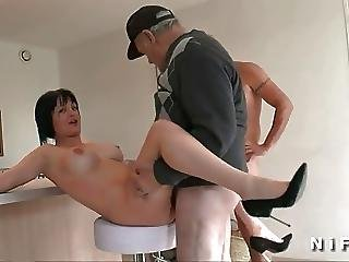 Old Man Bangs An Amateur Milf In 3some