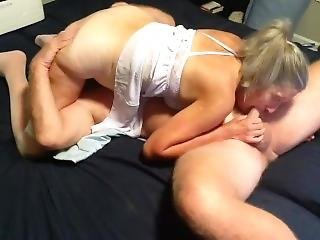 Hot Milf Makes Out With Hubby Sucks Cock Gets Fucked And Creampied