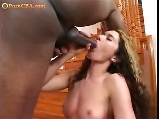 Brunette Fuck A Big Black Dick And Lick Black Ass