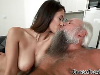 Busty Teen Blows Grandpa