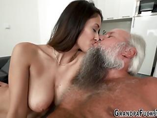 Busty Teen Blows Grandpa