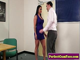 Inked Office Babe Spunked On Face After Bj